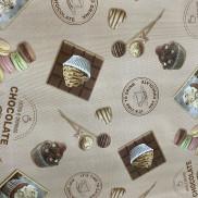Клеенка ПВХ нетк.основа 1,4*20м кофе и маракуны на бежевом Dekorama арт.072В