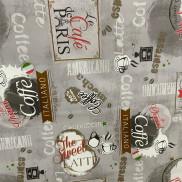 Клеенка ПВХ на нетк.основе 1,4*20м кофейные мотивы на сером DEKORAMA арт.099В